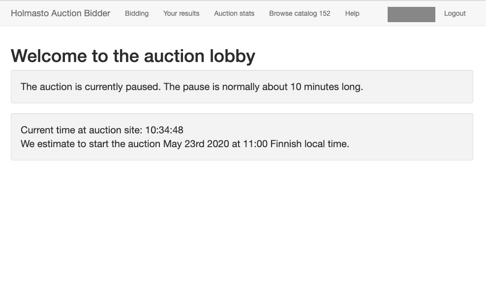 Liveauction lobby screen